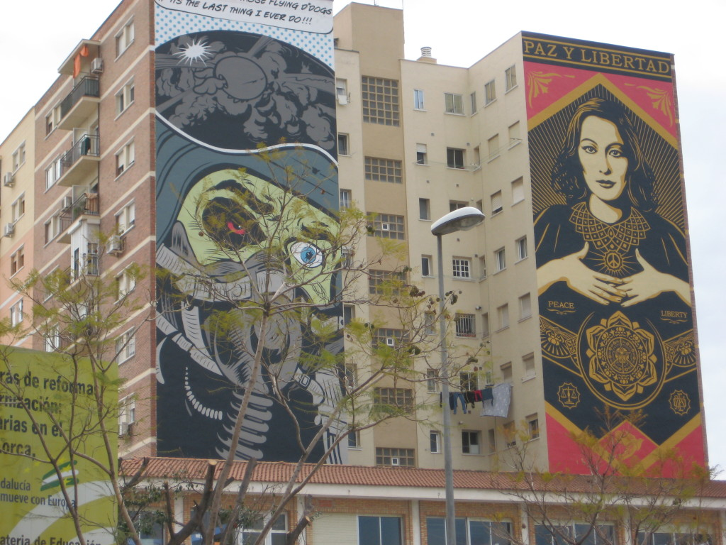 Not unusual to treat the sides of buildings like canvas.  In Malaga