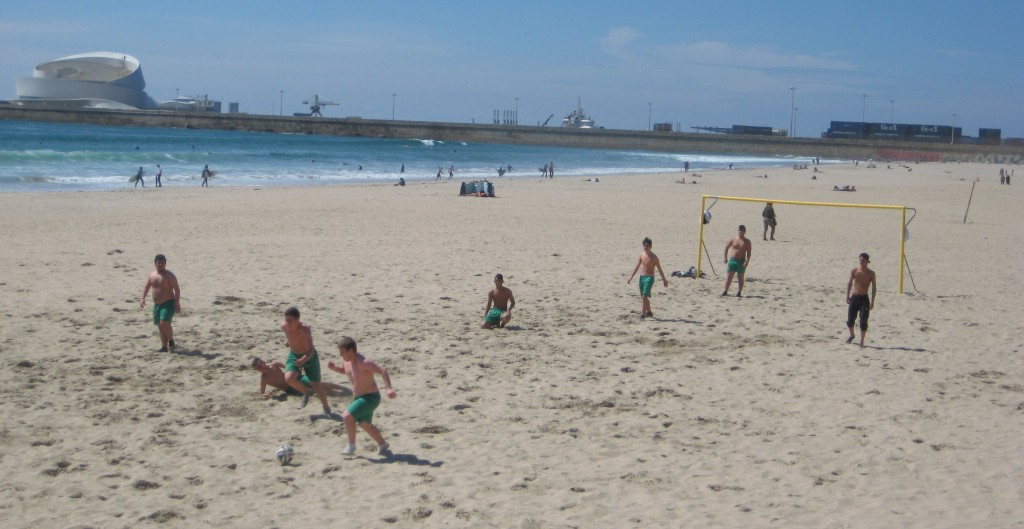 Soccer in the sand.